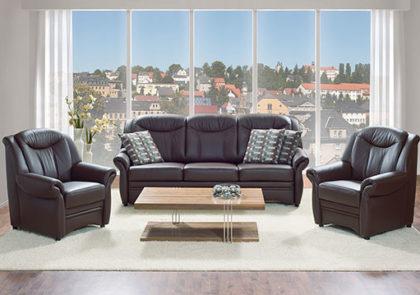 Sofa von Oelsa – Modell Gera – in Leder schwarz