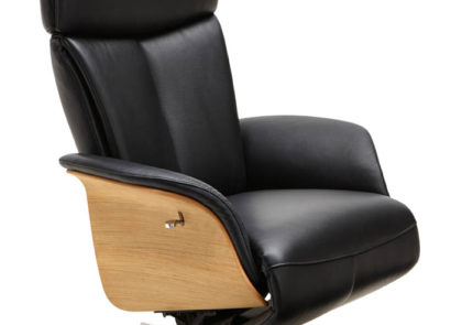 Relaxsessel von Global – Modell Lugo – in Leder schwarz