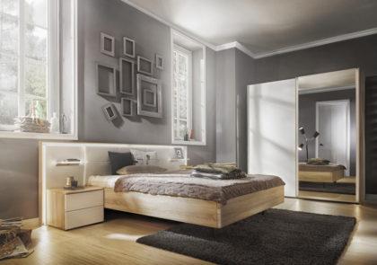 Schlafzimmer von Nolte – Modell Ipanema – in Weißglas / Sonoma-Eiche-NB