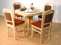 Tisch und Stühle von Müller – Modell Neustadt / Apolda-in Ahorn / rot