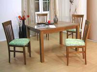 Tisch und Stühle von Müller – Modell Neustadt / Kiel  -in Nußbaum  /  grün
