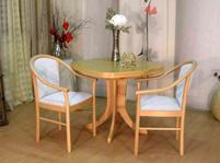 Tisch und Stühle von Müller – Modell Brandenburg / Carmen -in Buche / hellgrau
