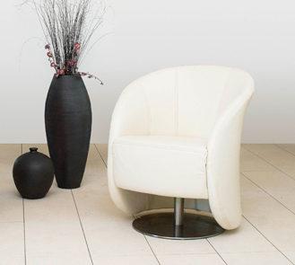 Drehsessel von Oelsa – Modell Sylt – in Leder weiß