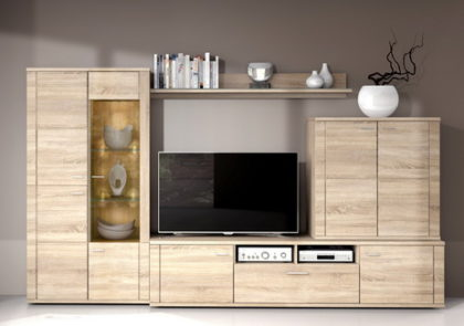 Wohnwand von RMI – Modell Siena – in Sonoma Eiche Holzdekor
