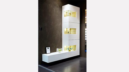 Wohnwand von Sudbrock Modell Domino 09 in Glattlack weiss
