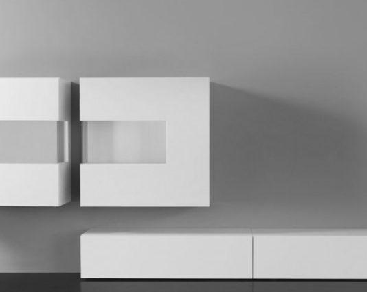 Wohnwand von Sudbrock Modell Domino 13 in Glattlack weiss