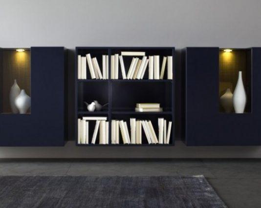 Wohnwand von Sudbrock Modell Domino 681 in Glattlack quarz