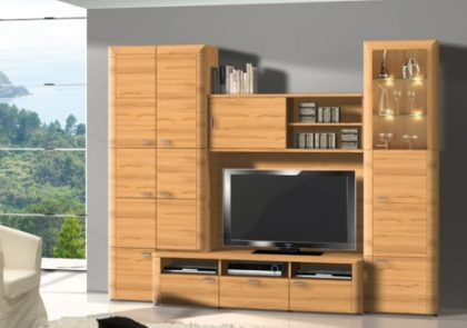 Wohnwand von RMI – Modell Toscana – in Kernnussbaum Holzdekor