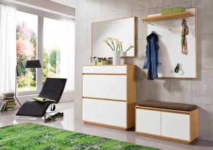Garderobe von Voss – Modell V100 – in Eiche bianco / Lack weiss