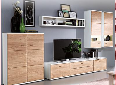 Wohnraummöbel Multiplan von Europa Möbel in Wildeiche/weiß Dekor