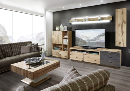 Wohnwand von Schröder – Modell Kitzalm Living – in Alteiche natur