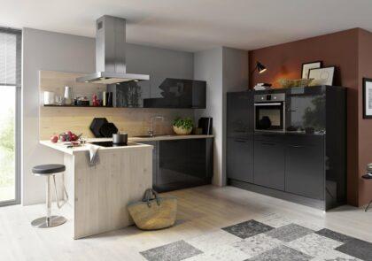Apartment-Küche Global 51.160 in Lavaschwarz Hochglanz und Spitzarhorn Nachbildung