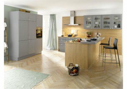 Country Global 55.230/55.100 Küche mit Rahmenfront in Satinlack grau und Eiche natur Nachbildung
