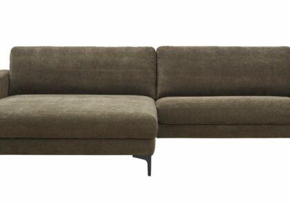 Ecksofa Oviedo – 1,5-Sitzer, Longchair links, Chenilleflachgewebe, Braungrün