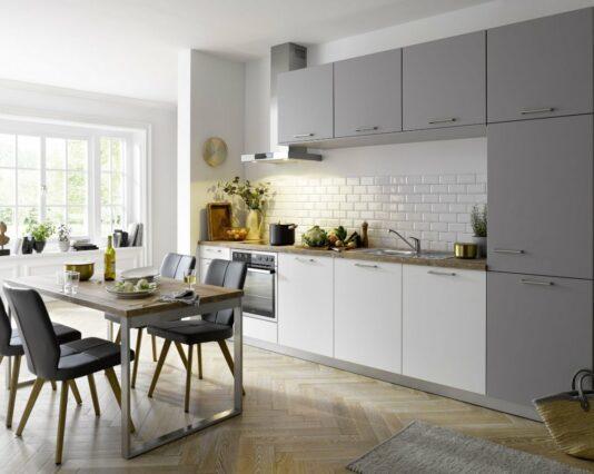 Filigrane moderne Kuechenzeile Global 54 160 in weiss und grau Möbelhaus Dresden - Möbel Röthing