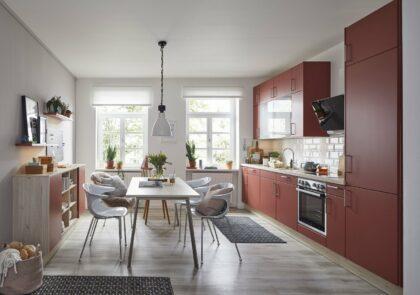 Global Wohn-Küche 54.160 in Lack Terracottarot samtmatt und Spitzahorn Nachbildung