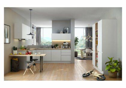 Grifflose moderne Global Küche 52.180 mit Technikschrank in Kristallweiß matt