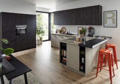 L-Küche Global 52.210/52.200 in Beton grau und Flammeiche Schwarz Nachbildung