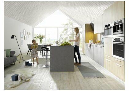 Moderne Wohnküche Global 51.180/51.130 in Beton Dunkelgrau und Ellmau Eiche Nachbildung
