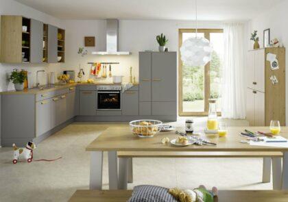 Nordische lässige Global Küche 53.200/51.130 in grau und Asteiche
