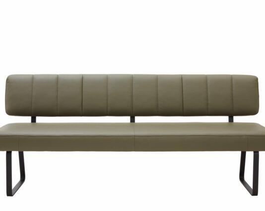 Polsterbank Carmelo BT ca 200x65 cm mit Rueckenlehne ohne Armlehne Leder Olive 1 Möbelhaus Dresden - Möbel Röthing