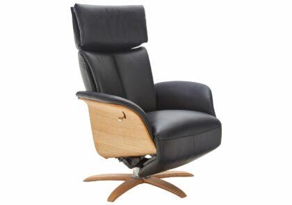Relaxsessel Lugo – Größe M, Kopf-/Fußteil/Rückenlehne verstellbar (manuell), Leder, Schwarz