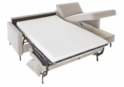 Schlafsofa Melida – 2-Sitzer, Longchair rechts, Schlaffunktion, Bettkasten, Stoff; grau