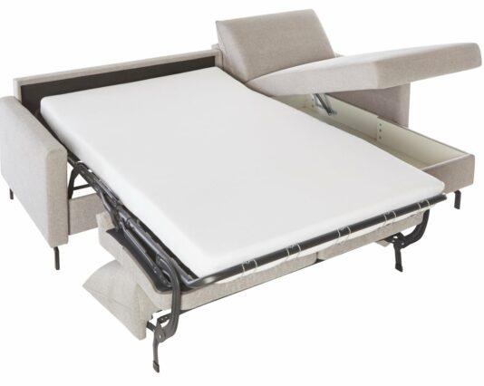Schlafsofa Melida 2 Sitzer Longchair rechts Schlaffunktion Bettkasten Stoff grau Möbelhaus Dresden - Möbel Röthing