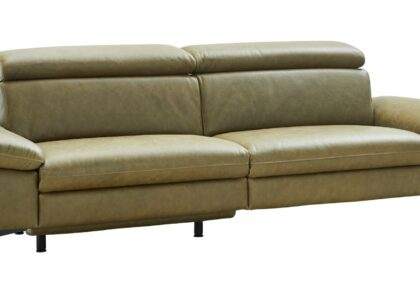 Sofa Felipa – Relaxfunktion (motorisch), Kopfteil verstellbar (manuell), 3 Sitzer, Leder, Olive