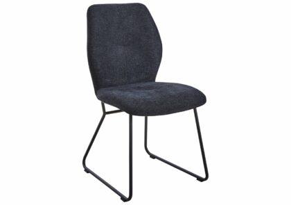 Stuhl Dinner – Stoff, Anthrazit, Metall, Schwarz, ohne Armlehne