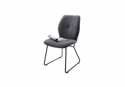 Stuhl Dinner – Stoff, Grau, ohne Armlehne, Metallkufe