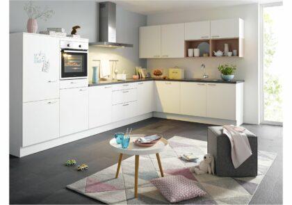 Trendige Global Küche 52.180 übers Eck in Weiß und Pastellrosa