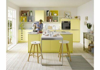 Wohnküche Global 55.100 in sanftem Pastellgelb Satinlack